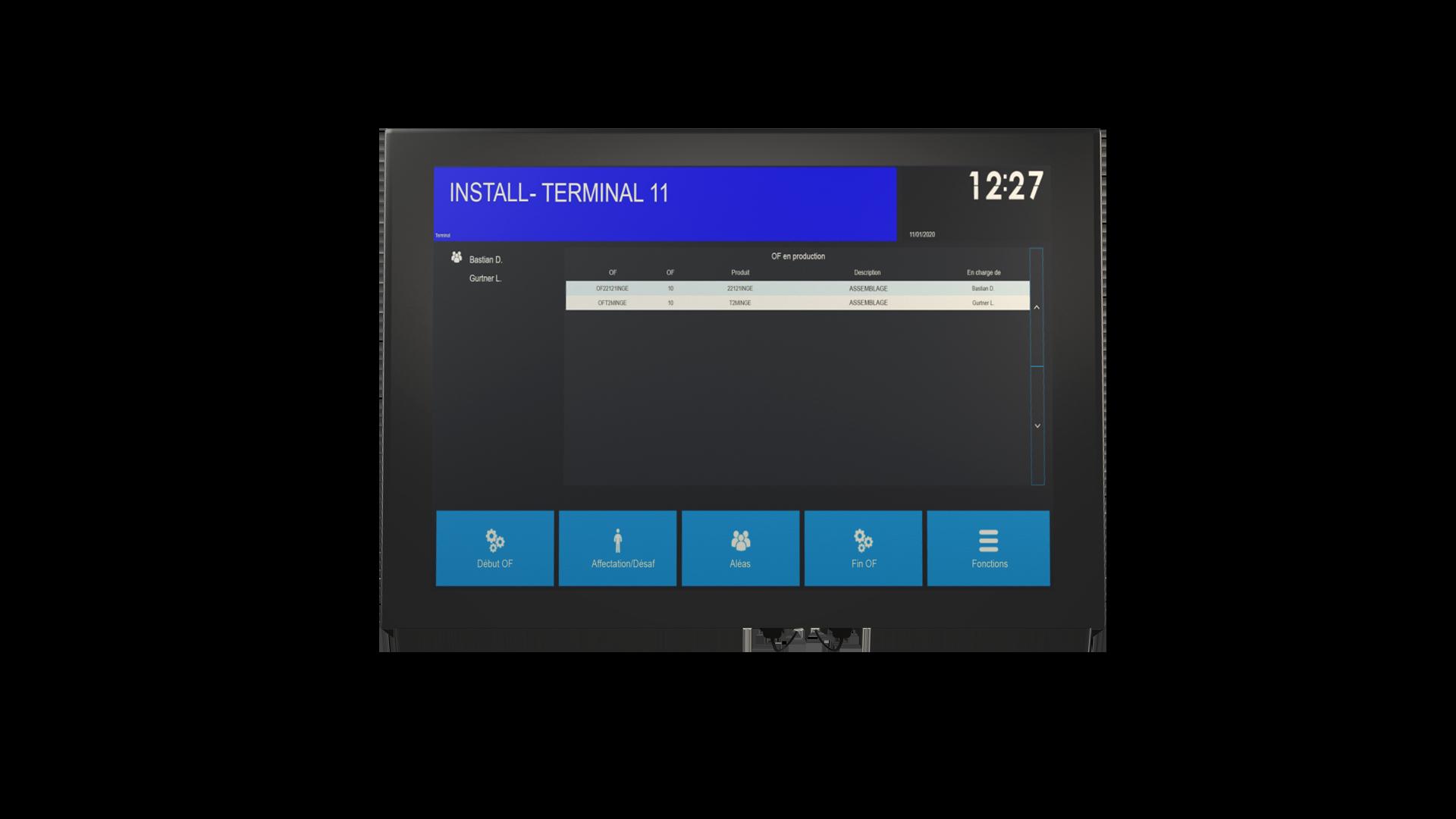 Affichage de l'interface du PC industriel SedApta